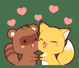 Tanuki & Fox girl sticker #13612685