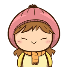 Girl with scarf sticker #13669389