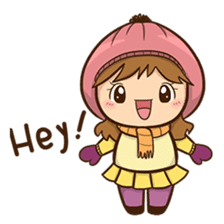 Girl with scarf sticker #13669417