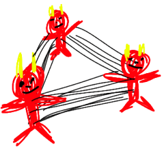 colorful devil oni