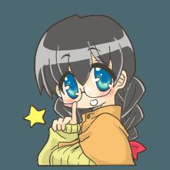 Girl of glasses Sticker