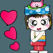 สติ๊กเกอร์ไลน์ Hello! My name is Hanaka. I love frog!!