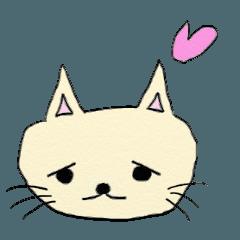 สติ๊กเกอร์ไลน์ Cute Cat With A Troubled Face