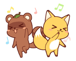 Tanuki & Fox animated sticker #14155935