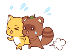 Tanuki & Fox animated sticker #14155941