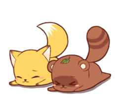 Tanuki & Fox animated sticker #14155944