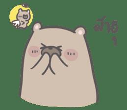 Mr. bear and his cutie cat 3 sticker #14206733