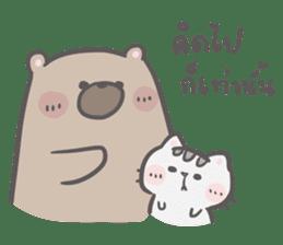 Mr. bear and his cutie cat 3 sticker #14206751