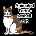 Animated Tortoiseshell cat.