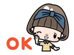 Cute girl with bobbed hair - New Year - sticker #14249038