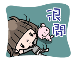 Cute girl with bobbed hair - New Year - sticker #14249039