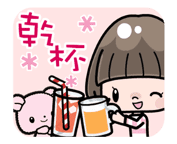 Cute girl with bobbed hair - New Year - sticker #14249043