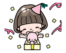 Cute girl with bobbed hair - New Year - sticker #14249045