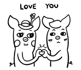 Pig couple 2 sticker #14258822