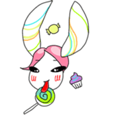 Pink haired rabbit sticker #14310961