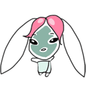 Pink haired rabbit sticker #14310975