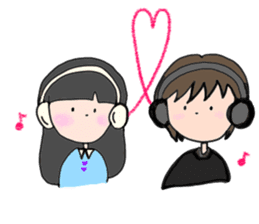 headphone boy&girl sticker #14313189
