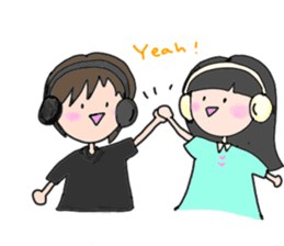 headphone boy&girl sticker #14313190