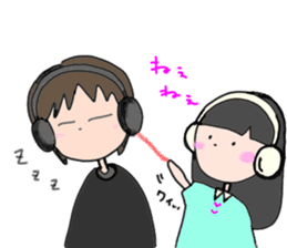 headphone boy&girl sticker #14313191