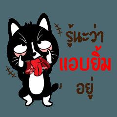 สติ๊กเกอร์ไลน์ แมวดำจอมป่วน