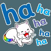 สติ๊กเกอร์ไลน์ เทพแมวสายรุ้ง [ข้อความใหญ่] อังกฤษ