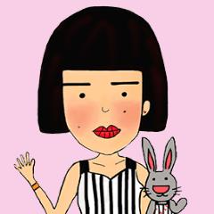 สติ๊กเกอร์ไลน์ Miss O and Big nose Rabbit