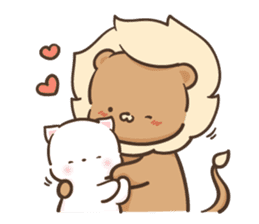 Lion and Kitty, adorable couple Ver3. sticker #14716072