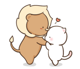 Lion and Kitty, adorable couple Ver3. sticker #14716073