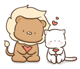 Lion and Kitty, adorable couple Ver3. sticker #14716074