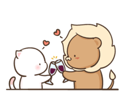 Lion and Kitty, adorable couple Ver3. sticker #14716077
