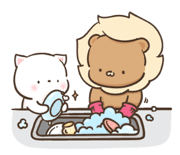 Lion and Kitty, adorable couple Ver3. sticker #14716094