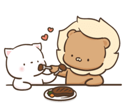 Lion and Kitty, adorable couple Ver3. sticker #14716101