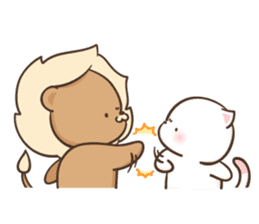 Lion and Kitty, adorable couple Ver3. sticker #14716109
