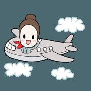 สติ๊กเกอร์ไลน์ Stewardess diary
