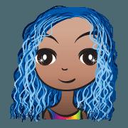 สติ๊กเกอร์ไลน์ Blue hair Ava