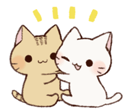 White cat & Red tabby cat sticker #14765677