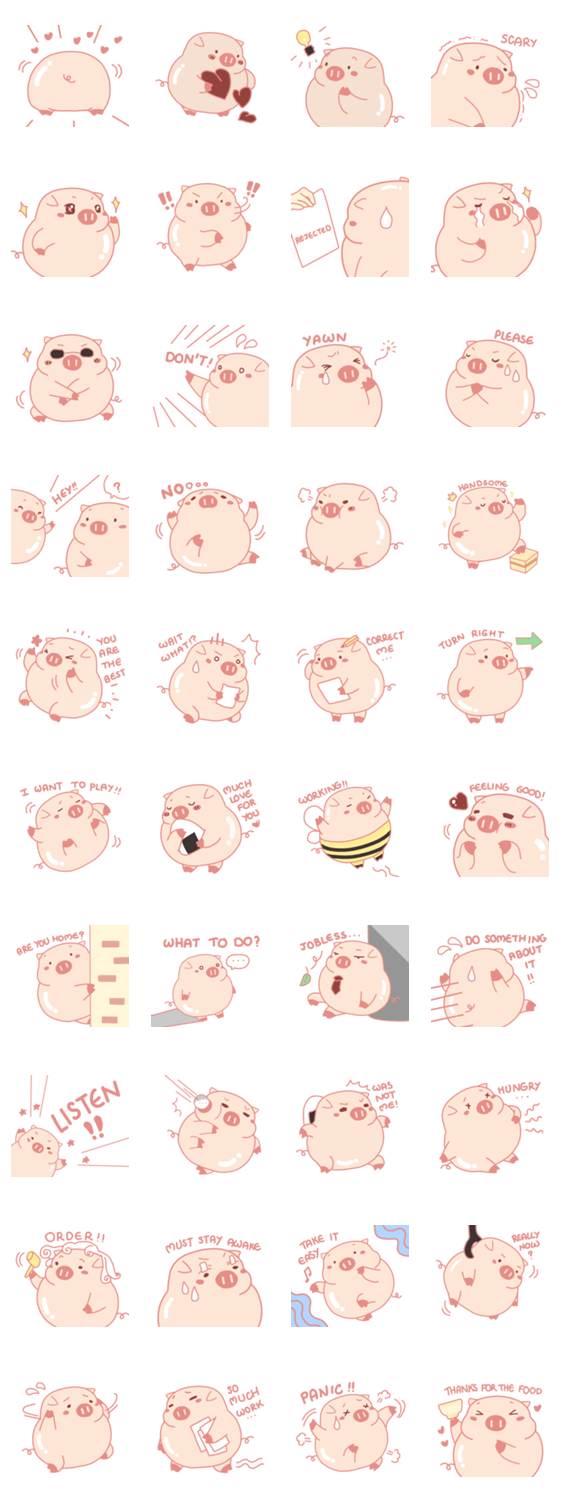 「Adorable Chubby Pink Pig in Busy Tasks」のLINEスタンプ一覧