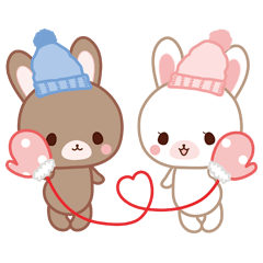 Lovey-Dovey bunnies Rai & Mai for winter