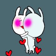 สติ๊กเกอร์ไลน์ A moving lovely love rabbit