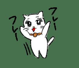 White cat,encourage. sticker #14890675