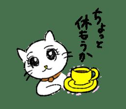 White cat,encourage. sticker #14890701
