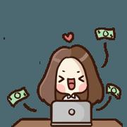 สติ๊กเกอร์ไลน์ Busy Freelancer Girl