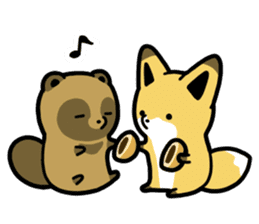 Raccoon dog & Fox 3 sticker #14894716