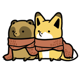 Raccoon dog & Fox 3 sticker #14894717