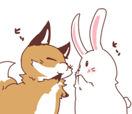 Fox and Rabbits sticker #14898106
