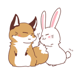Fox and Rabbits sticker #14898108