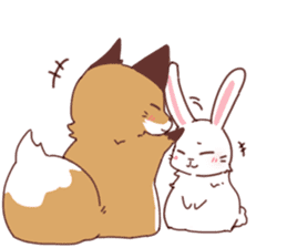 Fox and Rabbits sticker #14898109