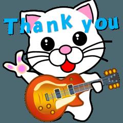 動く 軽音学 しろ猫(白猫)ギター