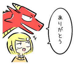 School girl and dragon sticker #14973558