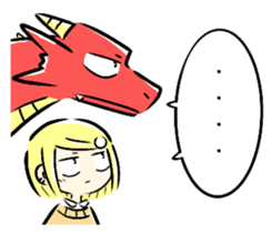 School girl and dragon sticker #14973573